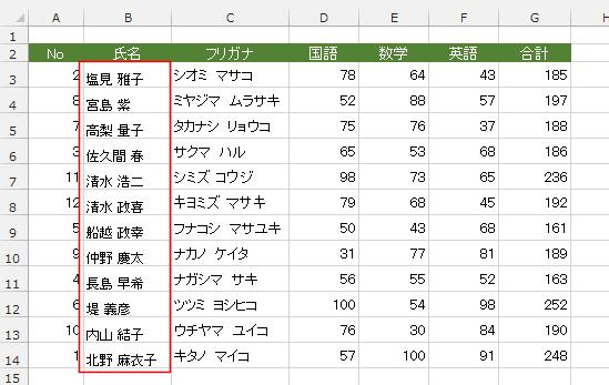エクセル 漢字 あいうえお順